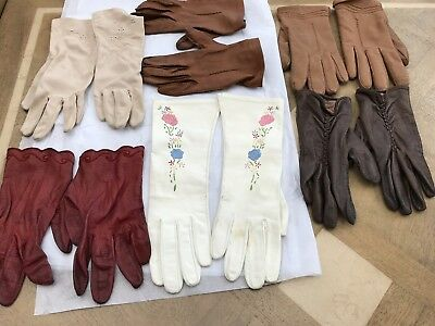 Job Lot Ladies Assorted Vintage Gloves 1960s/1970s - 6 pairs mostly Leather S/M