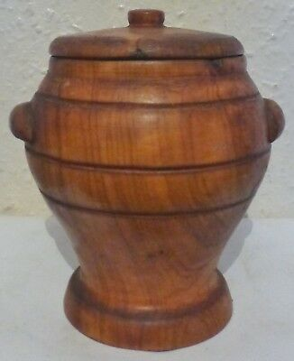 A Lovely Wooden Jar With Lid