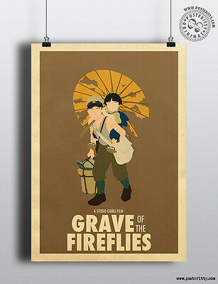 GRAVE of the FIREFLIES - Minimalist Studio Ghibli Movie Poster Minimal Posterity