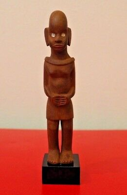 Small Mounted East African Tribal Art Carved Wooden Kamba Kenya Colon Figure