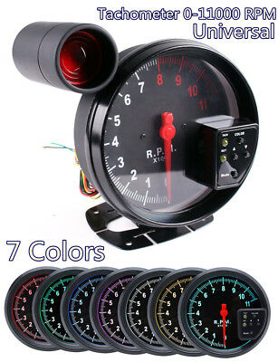 New 5'' Stepper Car RPM 11000K Tachometer Gauge w/7Color Backlight Warning Light