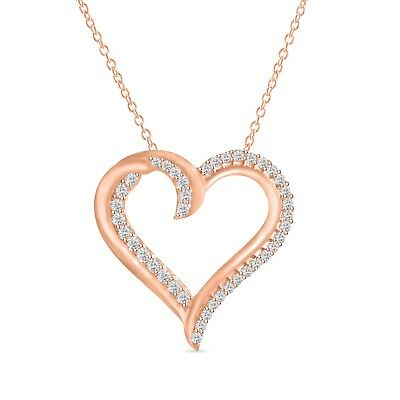 "14K Rose Gold Over Round Diamond Heart Pendant Necklace 18"" 925 Sterling Silver"