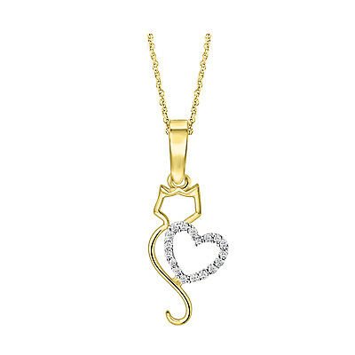 14K Yellow Gold Over 925 Silver Round Diamond Cat Heart Pendant Necklace 18""