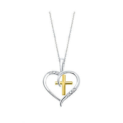 14k White Gold Over 925 Sterling Silver Diamond Heart Cross Pendant Necklace 18""