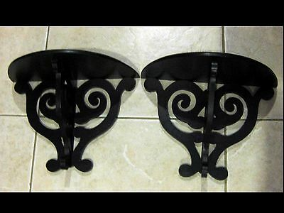 Two Matching Vintage Style Scroll Work Mahogany Wood Wall Plate Shelves