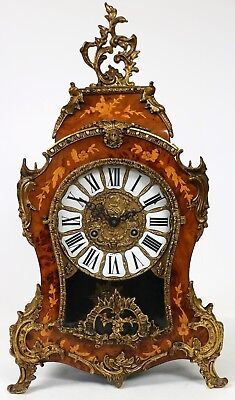 Vintage Boulle Inlaid Bracket Clock Walnut Marquetry Ormolu Mounts Mantel Clock