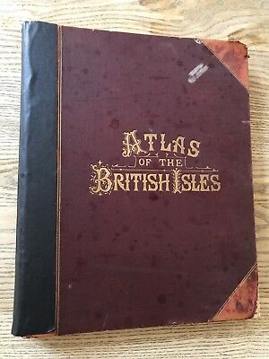 1899 BACON'S ATLAS OF THE BRITISH ISLES 65 MAPS INCLUDING 2 x LONDON CITY PLANS