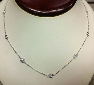 a457fe23acf55 14K WG ELEGANT 1.60ct diamond by the yard 10-stone chain necklace 18 ...