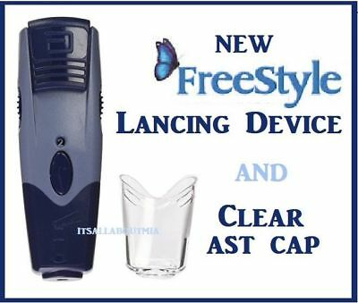Brand NEW ABBOTT FREESTYLE Lancing Device with SOLID and CLEAR CAP  (AST)