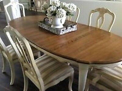 ETHAN ALLEN Country French Dining TABLE with leaf and painted apron and legs