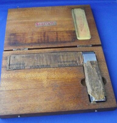 Vintage Starrett Scotland Metal No. 20 Square Tool Original Wooden Box Wrapped