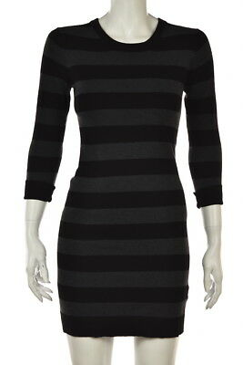 French Connection Womens Dress Size 8 Black gray Striped Sweater Sheath Short