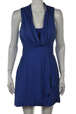 French Connection Womens Dress Size 4 Blue Solid Sheath Short Sleeveless Casual