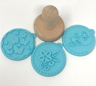 New Williams Sonoma Floral Cookie Stamps Spring Bee Butterfly (3) Press Silicone
