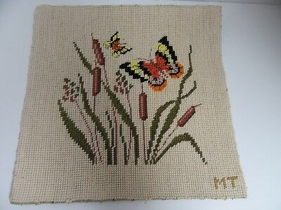 Finished Needlepoint Cattails & Butterfly Completed 10.5 Inches