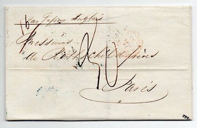 1855 Egypt To France Taxed Cover, Rothschild, Superb Color Cancels