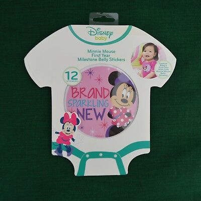 Disney Baby Minnie Mouse First Year Milestone Belly Stickers Baby Girl NEW