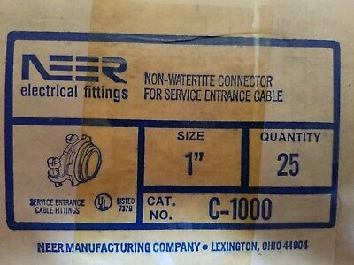 "Box of 25 Neer 1"" Two Screw Clamp Type Connectors C-1000 New Old Stock"