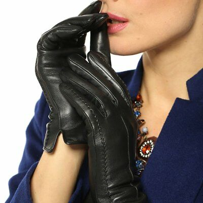 Ladies Women Soft Leather Gloves Warm Lining Line Driving Winter Touch Screen