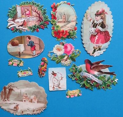 12 Victorian Christmas & Sentiment Scraps Robin Church Pudding
