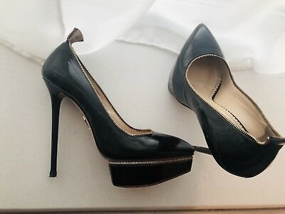 Agent Provocateur X Charlotte Olympia Limited Black Gold High Heels 6  39 95d58b372