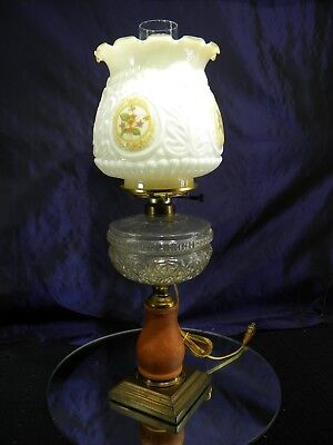 Antique Victorian EAPG Composite Electrified Oil Lamp with Shade and Chimney