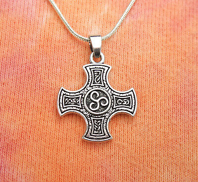 Cross of Harmony Necklace, Maltese Templar Triskele Celtic Knot Charm Pendant