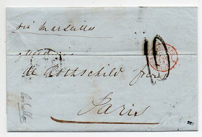 1854 Egypt To France Taxed Cover Via Valetta Malta ,rothschild Archive
