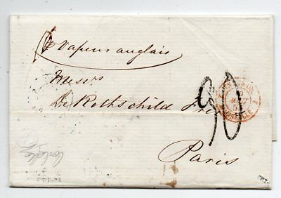 1855 Egypt To France Due Cover, Rothschild Archive, Poste Restante Pmk