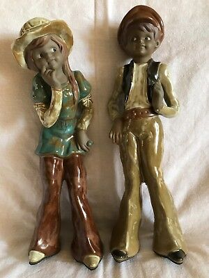 Pottery figures Vintage style Boy and Girl. Teenagers. Cute. Rare Kitsch