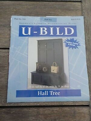 U-Bild Hall Tree Woodworking Carpentry Plan & Material List Extra Storage