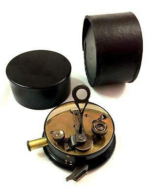 Maritime Rare Working Small Sextant with Leather Box Marine Astrolabe Sextant .