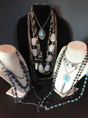 vintage glass crystal bead jewelry necklace lot