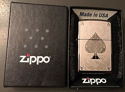 Zippo Black Ice Ace of Spades Filigree Windproof Lighter 28323 - New In Box