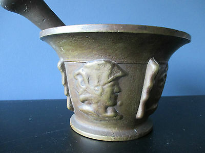 Mortar and pestle Antique large Italian bronze  19th century apothecary
