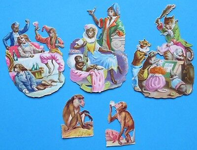 5 Victorian Scraps MONKEY FOX CATS MICE In Clothes Drinking Baby School