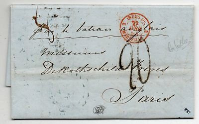1854 Egypt To France Cover, Rothschild, Rare Orange Red Cancel, Contents