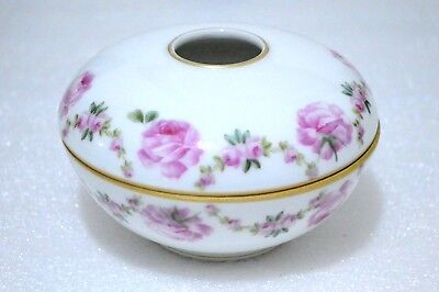 T&V Limoges Antique Hand Painted Pink Roses Hair Receiver