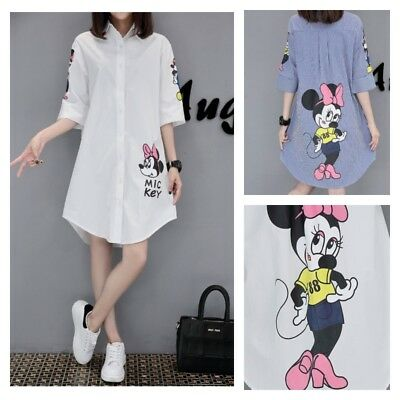 MICKEY MINNIE MOUSE Disney Top Long White Blouse Tunic Shirt PLUS SIZE M-5XL