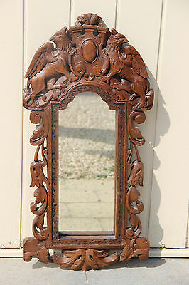 Rare antique 1920 wood carved Dragons gothic Griffin Wall mirror