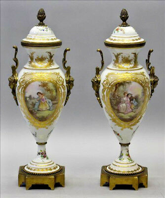 PAIR french Sevres porcelain marked victorian putti bronze Vases antique
