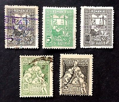 5 interesting old Ajutor and Asistenta stamps Romania