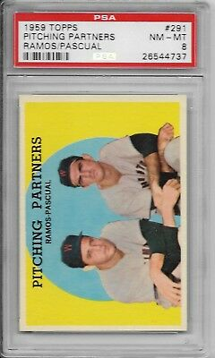 1959 Topps #291 Pitching Partners Ramos/Pascual Washington Senators PSA 8 NM-MT