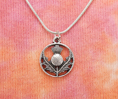 Scottish Thistle Necklace, Scotland Symbol Charm Pendant Scotch Jewelry Gift