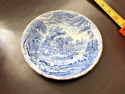 H M Sutherland China Rural Scenes Blue Saucer