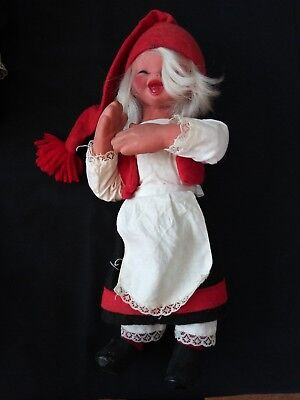 "Vintage ARNE HASLE Nisse Elf Gnome NORWAY Norge POSEABLE  12"" Latex Doll Tomte"