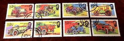 """old cars: 8 nice cancelled stamps """"State of Oman"""""""