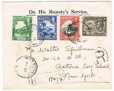 GRENADA - Registered Cover to New York, Long Island posted G.P.O. 20.2.1936- 005