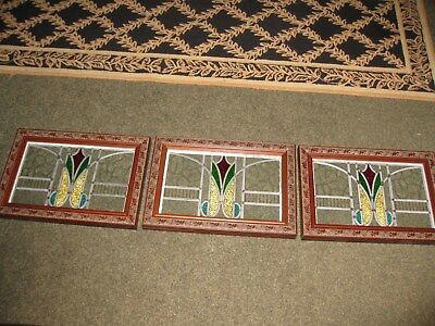 Antique Leaded Stained Glass Windows 3 Panels Professionally Framed Both Sides