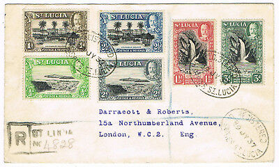 St. LUCIA - Registered Cover to London, posted 29.7.1937 - Michel # 84 - 89- 072